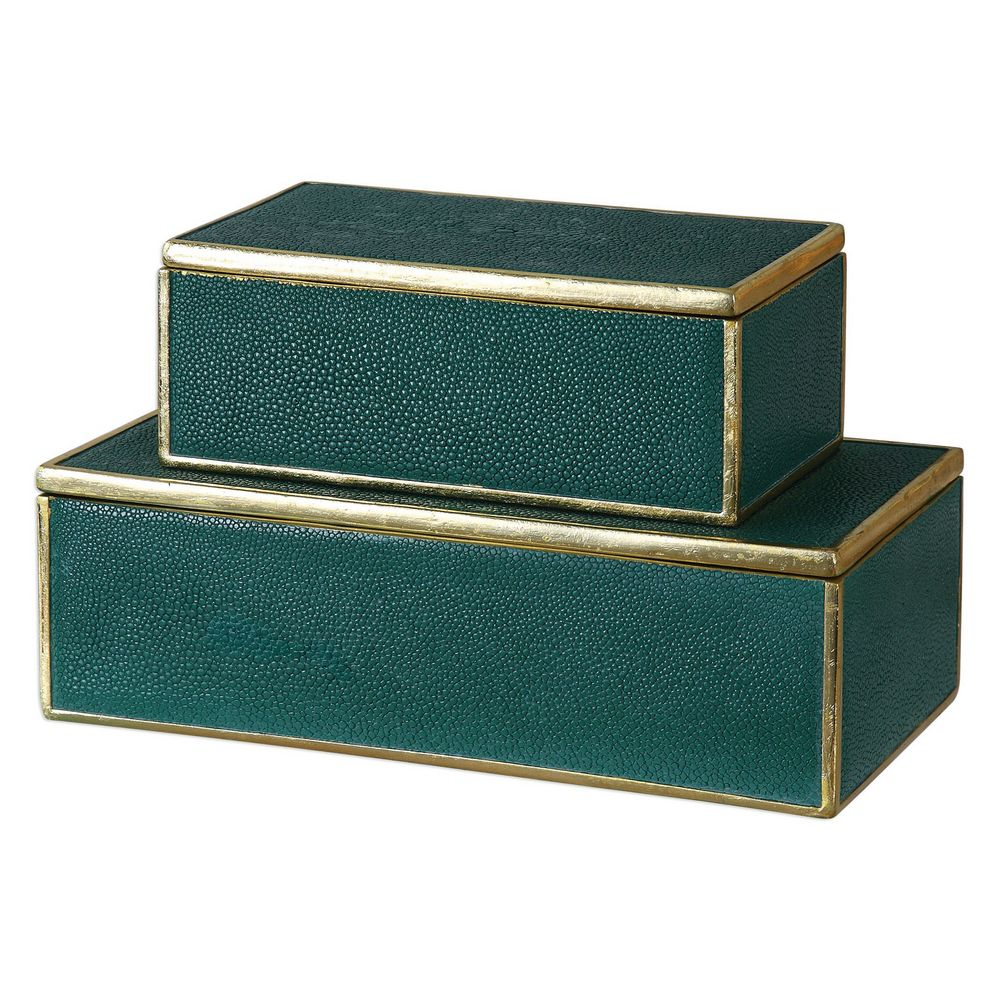 Decorative Boxes How To Make : Uttermost karis emerald green boxes s  clock