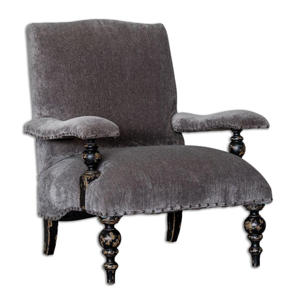 Chenille Armchair: Uttermost Eavan Gray Chenille Armchair 23640