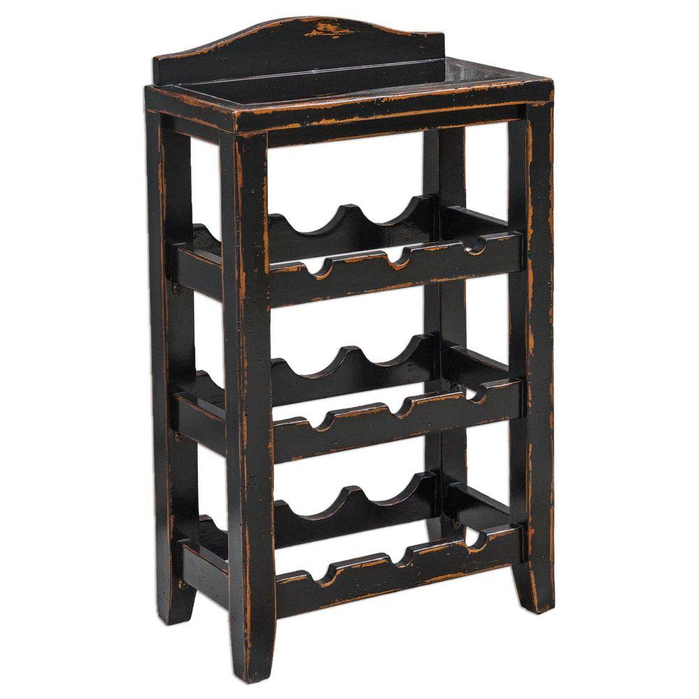 uttermost halton wine rack table 25672