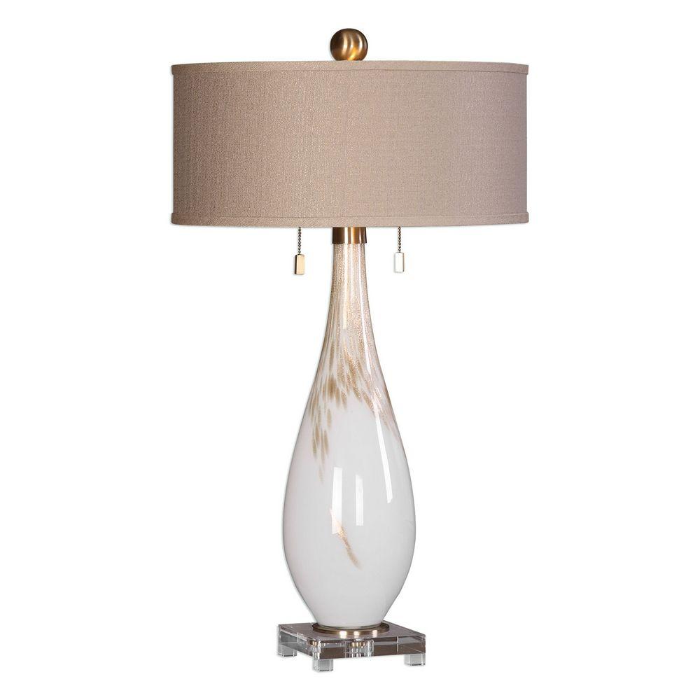 Uttermost Cardoni White Glass Table Lamp 27201