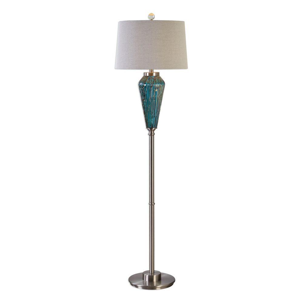 Uttermost Almanzora Blue Glass Floor Lamp 28101