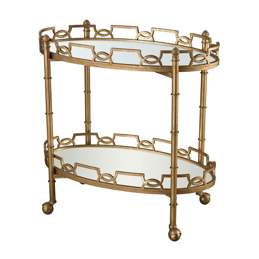 Curvilinear 2 Tier Tray Table In Antique Gold Leaf