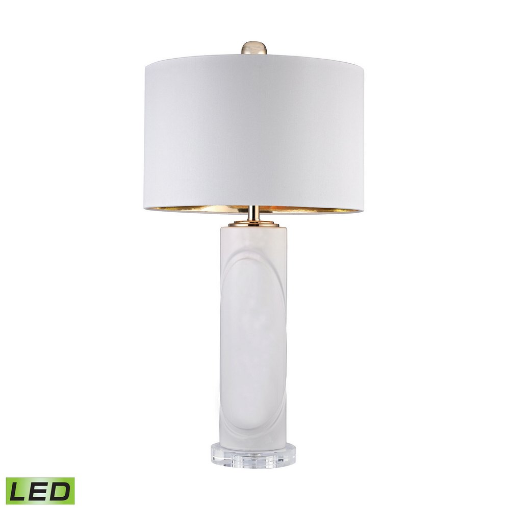 Dimond Home Sangreal 36 In Round Metal And Faux Agate: White Embossed Oval LED Lamp