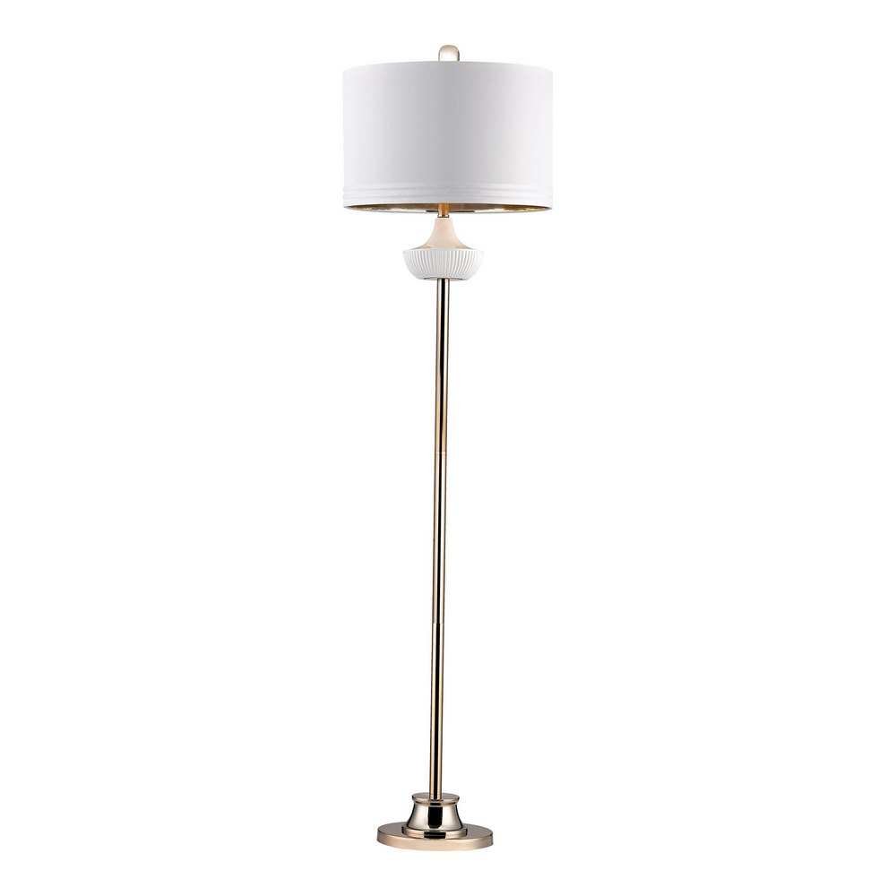 Ribbed Brass Floor Lamp: White Ribbed Cube Floor Lamp