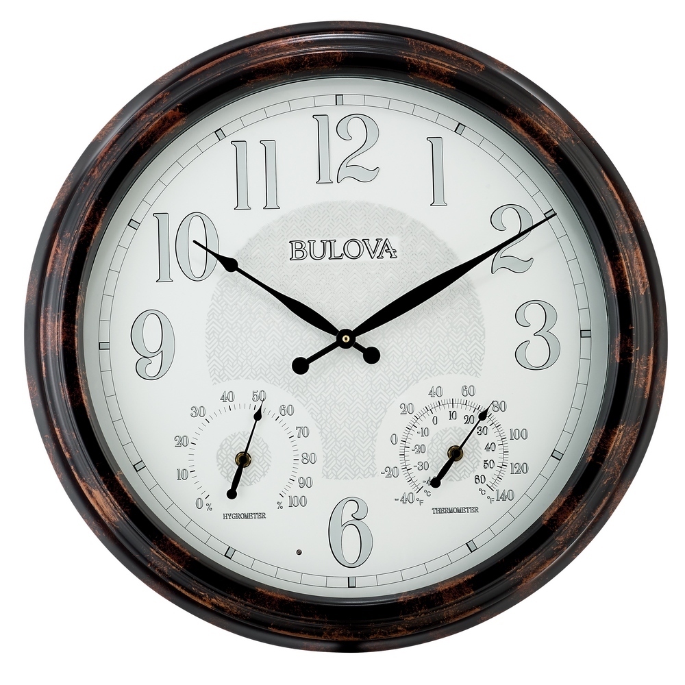 Bulova Weather Mate Indoor Outdoor Wall Clock With