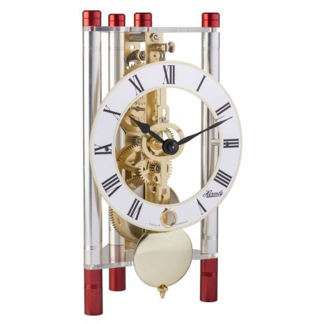 Lakin Triangular 8-day Mechanical Mantel Clock - Red and Silver w/Metal Dial Hermle 23023T40721