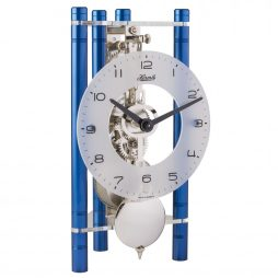 Lakin Triangular 8-day Mechanical Mantel Clock - Blue w/Glass Dial Hermle 23025Q70721