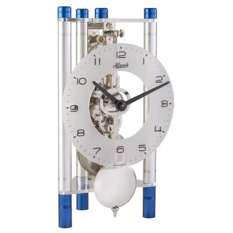 Lakin Triangular 8-day Mechanical Mantel Clock - Blue & Silver w/Glass Dial Hermle 23025T50721