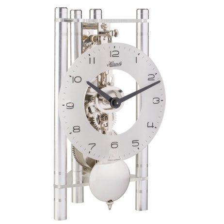 Lakin Triangular 8-day Mechanical Mantel Clock - Silver w/Glass Dial Hermle 23025X40721