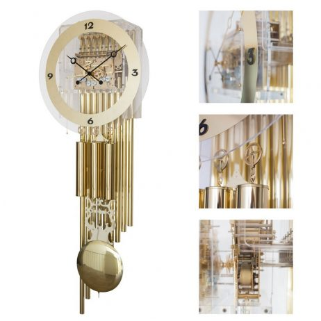 Elite Triple Chime Cable Driven Wall Clock with Brass Tubes Hermle 61020001171