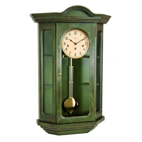 Faullkner Mechanical Wall Clock with Curio Cabinet - Green Hermle 70305DG0341