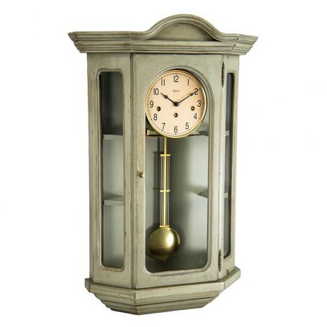 Faullkner Mechanical Wall Clock with Curio Cabinet - Gray Hermle 70305GY0341