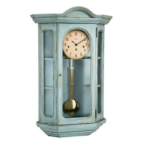 Beau Faullkner Mechanical Wall Clock With Curio Cabinet U2013 Blue