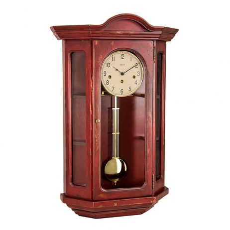 Faullkner Mechanical Wall Clock with Curio Cabinet - Red Hermle 70305RD0341