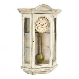 Faullkner Mechanical Wall Clock with Curio Cabinet - White Hermle 70305WH0341