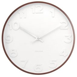 "Mr. White 20"" Wall Clock Wooden Case Karlsson KA5470"