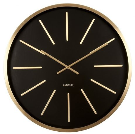 Maxiemus Brass Station Black Wall Clock KA5579BK