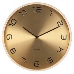 "Bent Wood Gold Plated 13.8"" Wall Clock KA5611GD"