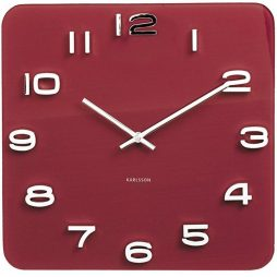 "Karlsson 13.8"" Glass Wall Clock, Burgandy KA5641RD"