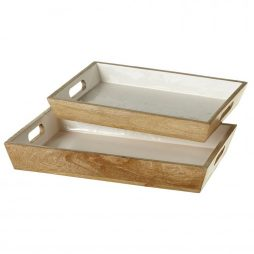 White Inlay Mango Wood Rectangle Trays set/2 Midwest CBK 149693