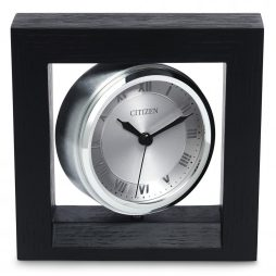 Decorative Desk Clock - Oak Case Black Finish - Citizen Clocks CC1009