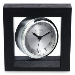 Decorative Desk Clock - Oak Case Black Finish - Citizen Clocks CC1009