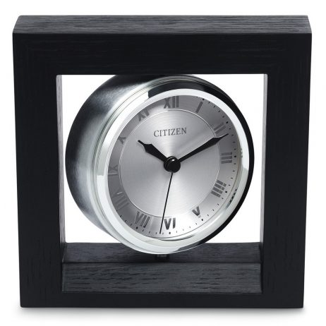 Decorative Desk Clock Oak Case Black Finish