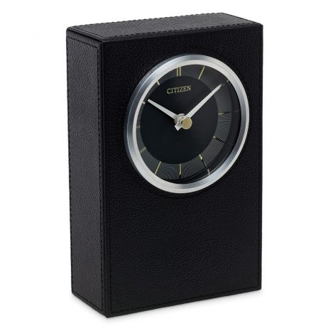 Decorative Black Leather Tabletop Clock - Citizen Clocks CC1014