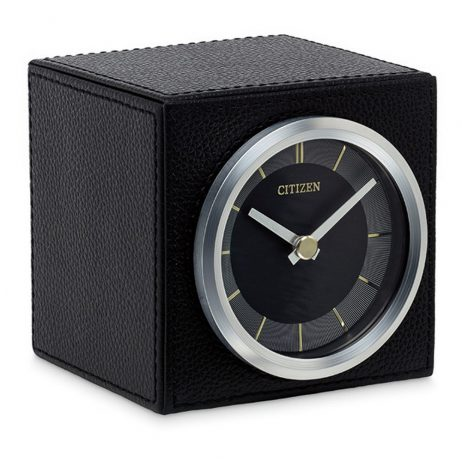 Decorative Black Leather Tabletop Clock - Citizen Clocks CC1016