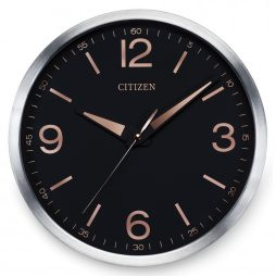 "Black 12"" Wall Clock  - Sweep Second Hand - Citizen Clocks CC2002"