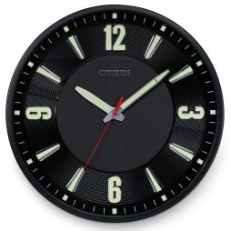 "Black Leather 14"" Wall Clock - Citizen Clocks CC2012"