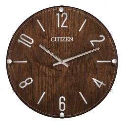 "Dark Wood Frame13.65"" Wall Clock with Leather Accents - Citizen Clocks CC2021"