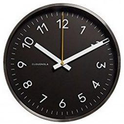"Cloudnola Black 11.8"" Wall Clock - Silver Frame 0001"