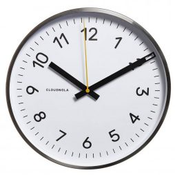 "Cloudnola White 11.8"" Wall Clock - Silver Frame 0002"