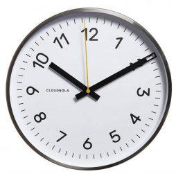 "Cloudnola White 11.8"" Wall Clock - Silver Frame 0002"