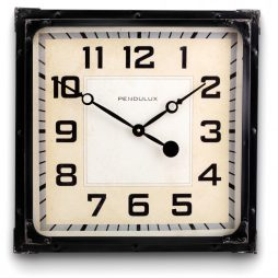 "Gas Station 19"" Square Wall Clock Black - Pendulux WCGASBK"