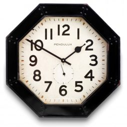 Octagon Retro Wall Clock - Pendulux WCOCTBK