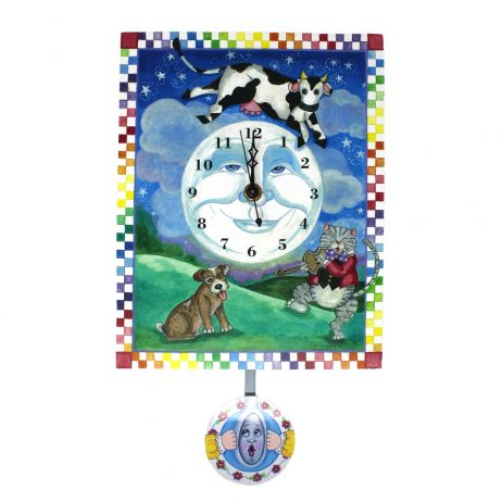 Cow Jumps over the Moon Wall Clock - Laughing Moon 238P