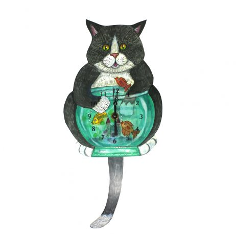 Cat-Fish Wall Clock - Laughing Moon 260P