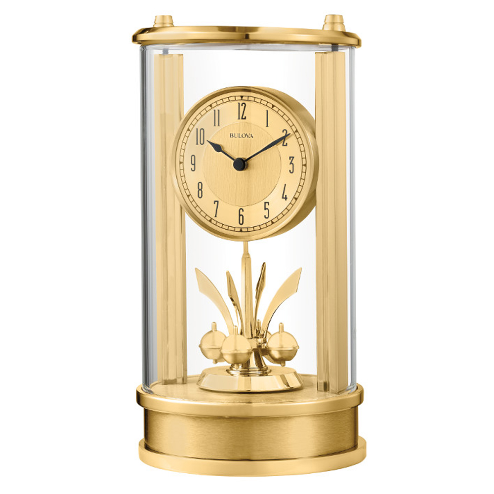 Isabel Tabletop Clock With Rotating Pendulum Bulova B8820 Clocks