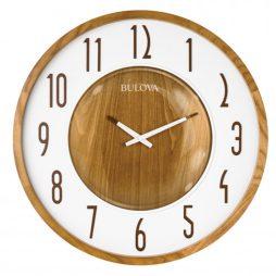 Bulova Broadway 22 inch Zebra Wood Wall Clock C4872