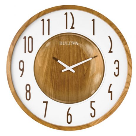 Bulova Broadway 22 inch Zebra Wood Wall Clock C4872