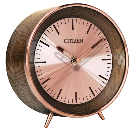 Citizen Wood and Rose Gold-tone Table Clock and Bluetooth Speaker CC3004