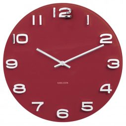"Karlsson 13.8"" Glass Wall Clock, Burgandy KA5640RD"