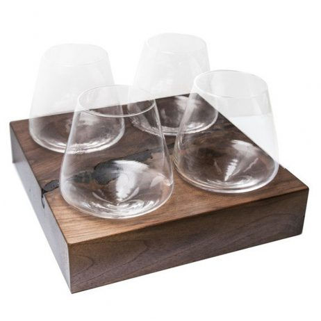 Revolving Wine Glasses on Walnut Stand - Swoon Living