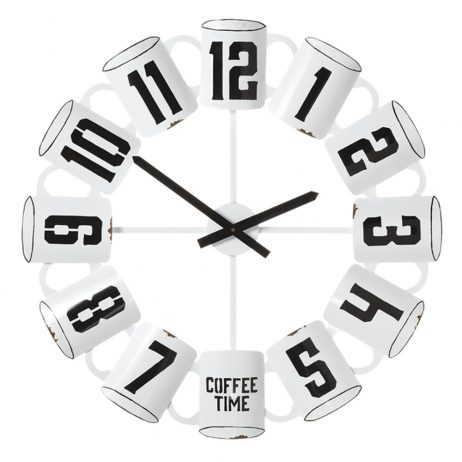 Enamel 26.75 inch Coffee Cup Kitchen Wall Clock