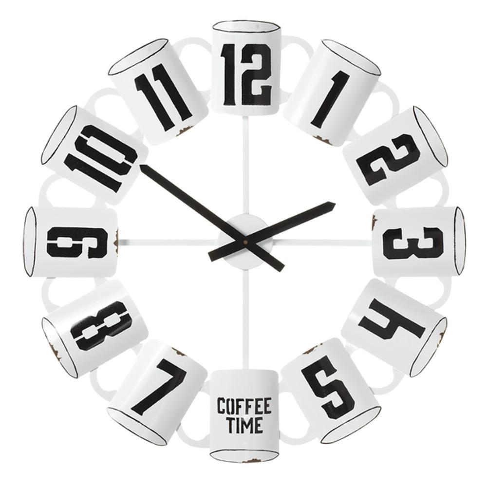 Enamel 26 75 Inch Coffee Cup Kitchen Wall Clock